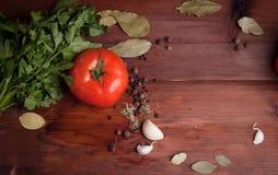 Mokry pomidor, ziele i pikantność na ciemnym drewnie, Zdjęcia Royalty Free