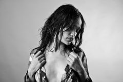 Mokry seksowny model Zdjęcie Stock