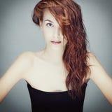 mokry włosiany dziewczyna portret Obraz Stock