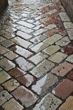 Mokrzy brukowi kamienie uliczni Zdjęcia Stock