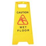 Mokrzy podłoga znaki odizolowywający na bielu Zdjęcie Stock