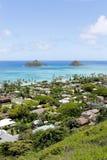 Mokulua öar över Lanikaien, Oahu, Hawaii Fotografering för Bildbyråer