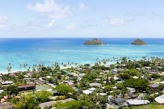 Mokulua öar över Lanikaien, Oahu, Hawaii Arkivbild