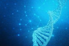 Molécula artificial de la DNA del intelegence Genoma del código binario del concepto Ciencia abstracta de la tecnología, DNA arti ilustración del vector
