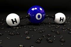 Molécula azul da ilustração da água em um fundo preto Imagem de Stock Royalty Free