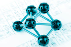 Molécula com tabela periódica Foto de Stock Royalty Free