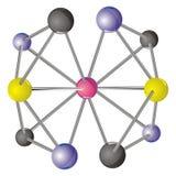 Molécula compleja con los átomos coloreados CMYK Fotos de archivo
