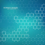 Molécula da estrutura do ADN e dos neurônios Átomo estrutural compostos químicos Medicina, ciência, conceito da tecnologia Foto de Stock