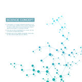 Molécula da estrutura do ADN e dos neurônios Átomo estrutural compostos químicos Medicina, ciência, conceito da tecnologia ilustração stock