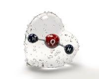 Molécula da ilustração da água com um coração do condinsation sobre Fotografia de Stock
