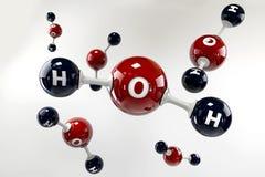 Molécula da ilustração da água em um fundo cinzento Imagem de Stock