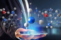 molécula da rendição 3d no indicado em uma relação médica Foto de Stock