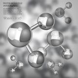 Molécula de agua metálica Imagen de archivo libre de regalías