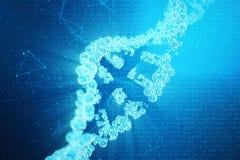 Molécula de la DNA de Digitaces, estructura Genoma humano del código binario del concepto Molécula de la DNA con los genes modifi libre illustration