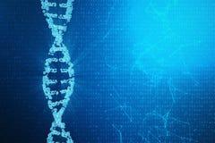 Molécula de la DNA de Digitaces, estructura Genoma humano del código binario del concepto Molécula de la DNA con los genes modifi ilustración del vector