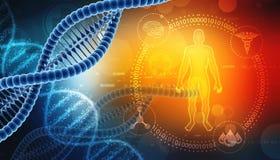 Molécula de la DNA en fondo médico representación 3d stock de ilustración