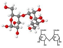 Molécula de la maltosa con fórmula química Imagen de archivo libre de regalías