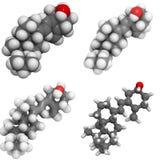 Molécula de la vitamina D3 (cholecalciferol) Foto de archivo libre de regalías