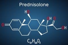 Molécula de Prednisolone É sabido como um corticosteroide ou uma medicamentação esteroide F?rmula qu?mica estrutural na obscurida ilustração do vetor