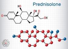 Molécula de Prednisolone É sabido como um corticosteroide ou uma medicamentação esteroide Modelo estrutural da f?rmula qu?mica e  ilustração royalty free