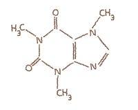Molécula del cafeína hecha por los granos de café imagenes de archivo