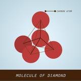 Molécula del diamante en diseño plano moderno stock de ilustración