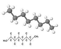 Molécula del octano con fórmula química Imágenes de archivo libres de regalías