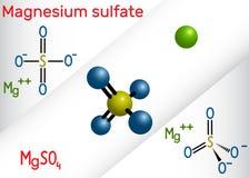 Molécula del sulfato de magnesio Él IS-IS una sal inorgánica y una droga farmacéutica Modelo estructural de la fórmula química y  ilustración del vector