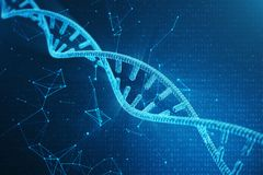Molécula do ADN de Digitas, estrutura Genoma humano de código binário do conceito Molécula do ADN com genes alterados ilustração  fotos de stock royalty free