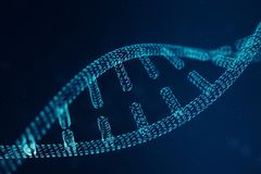 Molécula do ADN de Digitas, estrutura Genoma humano de código binário do conceito Molécula do ADN com genes alterados ilustração  imagens de stock