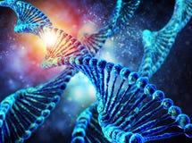 Molécula do ADN no fundo azul Fotos de Stock