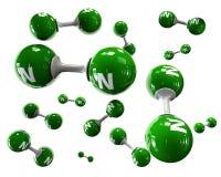 Molécula do ilustrador do nitrogênio em um fundo branco Imagem de Stock Royalty Free