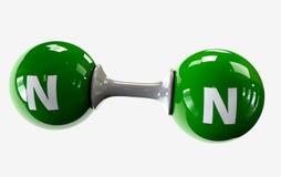 Molécula do ilustrador do nitrogênio em um fundo branco Foto de Stock Royalty Free