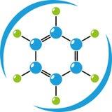 Molécula en color, química, ciencia y logotipo del laboratorio stock de ilustración