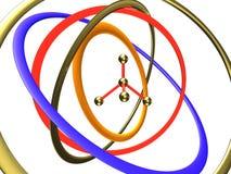 Molécula en el centro de órbitas Imagen de archivo libre de regalías