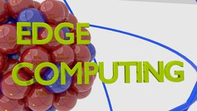 Molécula en rojo y azul reflejando las palabras para afilar la computación foto de archivo