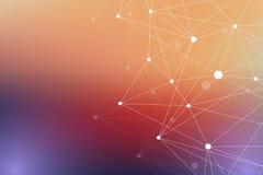 Molécula gráfica geométrica y comunicación del fondo Complejo grande de los datos con los compuestos Contexto de la perspectiva m Imagen de archivo libre de regalías