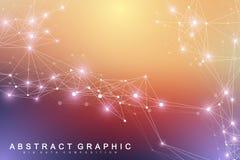 Molécula gráfica geométrica y comunicación del fondo Complejo grande de los datos con los compuestos Contexto de la perspectiva m stock de ilustración