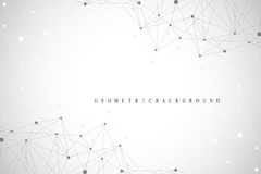 Molécula gráfica geométrica y comunicación del fondo Complejo grande de los datos con los compuestos Alinea el plexo, arsenal mín stock de ilustración