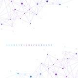 Molécula gráfica geométrica y comunicación del fondo Complejo grande de los datos con los compuestos Contexto de la perspectiva m Foto de archivo libre de regalías