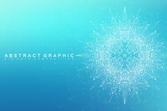 Molécula gráfica geométrica y comunicación del fondo Complejo grande de los datos con los compuestos Contexto de la perspectiva m Imagen de archivo