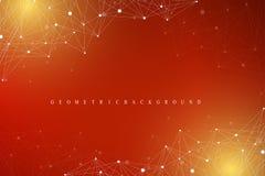 Molécula gráfica geométrica y comunicación del fondo Complejo grande de los datos con los compuestos Contexto de la perspectiva m Fotos de archivo