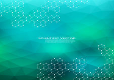 Molécula hexagonal Estructura molecular compuestos genéticos y químicos Química, medicina, ciencia y tecnología stock de ilustración