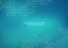 Molécula hexagonal Estructura molecular compuestos genéticos y químicos Química, medicina, ciencia y tecnología ilustración del vector
