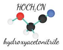 Molécula hydroxyacetonitrile de HOCH2CN Imagen de archivo