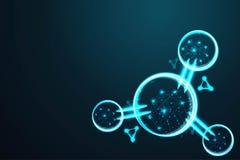 A molécula, malha poli do fio do sumário baixa, poligonal do quadro do fio olha como a constelação em escuro - céu noturno azul c ilustração royalty free