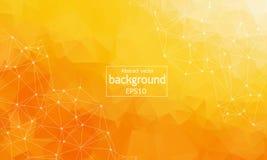 Molécula poligonal anaranjada geométrica y comunicación del fondo Líneas conectadas con los puntos Fondo del minimalismo Concepto stock de ilustración