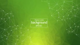 Molécula poligonal verde geométrica y comunicación del fondo Líneas conectadas con los puntos Fondo del minimalismo Concepto de stock de ilustración
