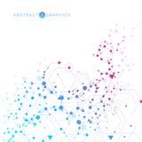 Molécula y comunicación de la estructura DNA, átomo, neuronas Concepto científico para su diseño Líneas conectadas con los puntos Fotografía de archivo libre de regalías