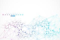 Molécula y comunicación de la estructura DNA, átomo, neuronas Concepto científico para su diseño Líneas conectadas con los puntos Imagen de archivo